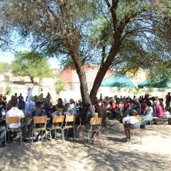 Die gesamte Schule versammelt unter schattenspendenden Bäumen